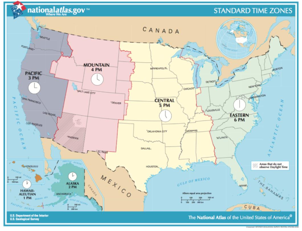 Carte Ouest Canadien Et Americain.Heures Horaires Et Fuseaux Horaires Dans L Ouest Americain