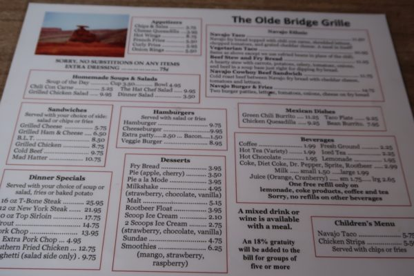 carte The Olde Bridge Grille