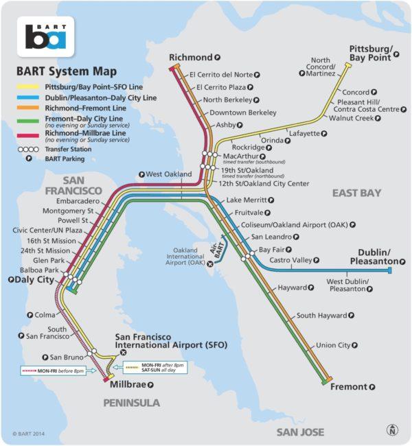 plan réseau BART