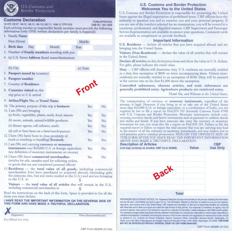 document douane remis dans l'avion