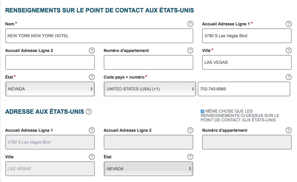 ESTA et point de contact aux USA