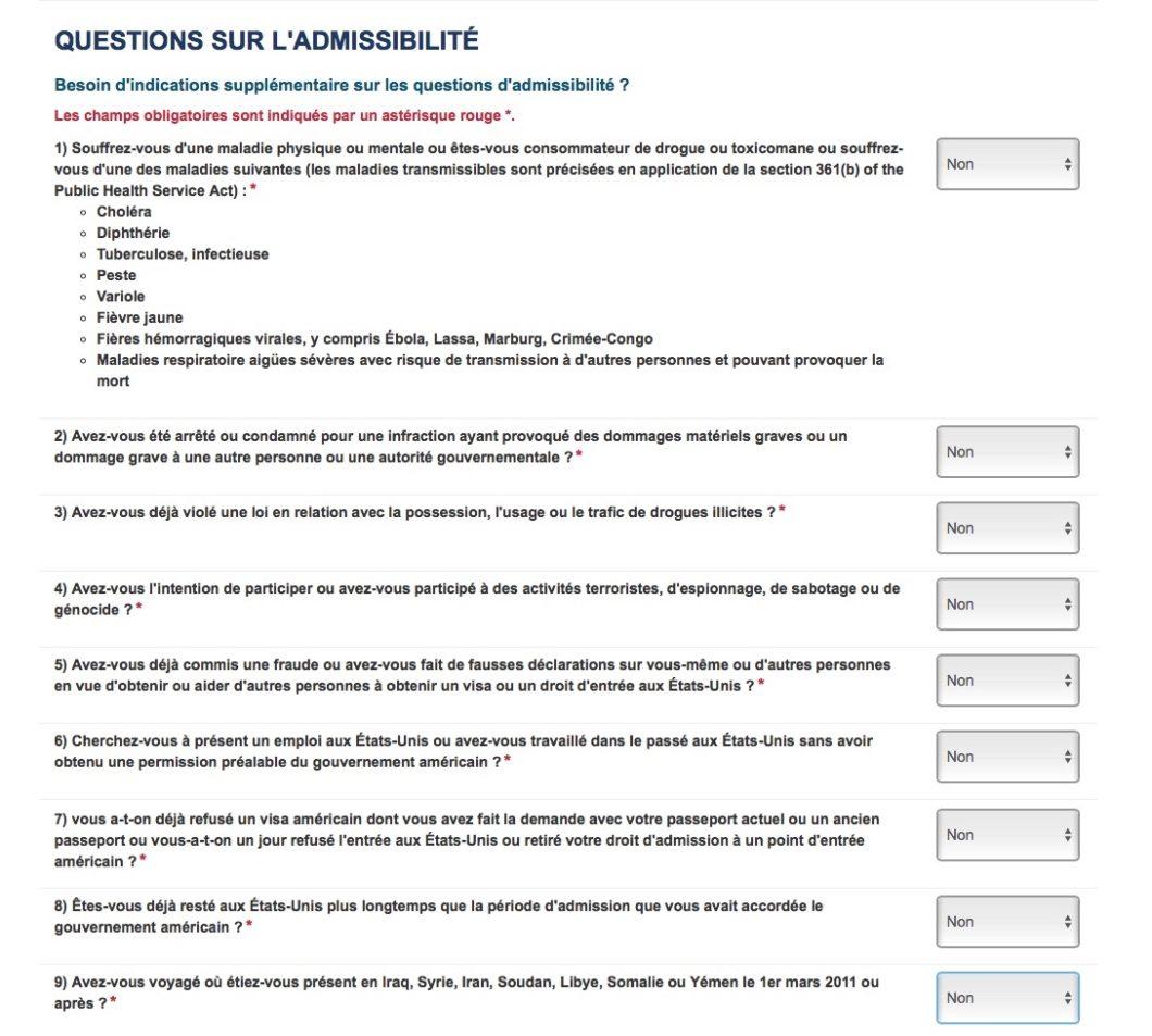questionnaire d'admissibilité ESTA