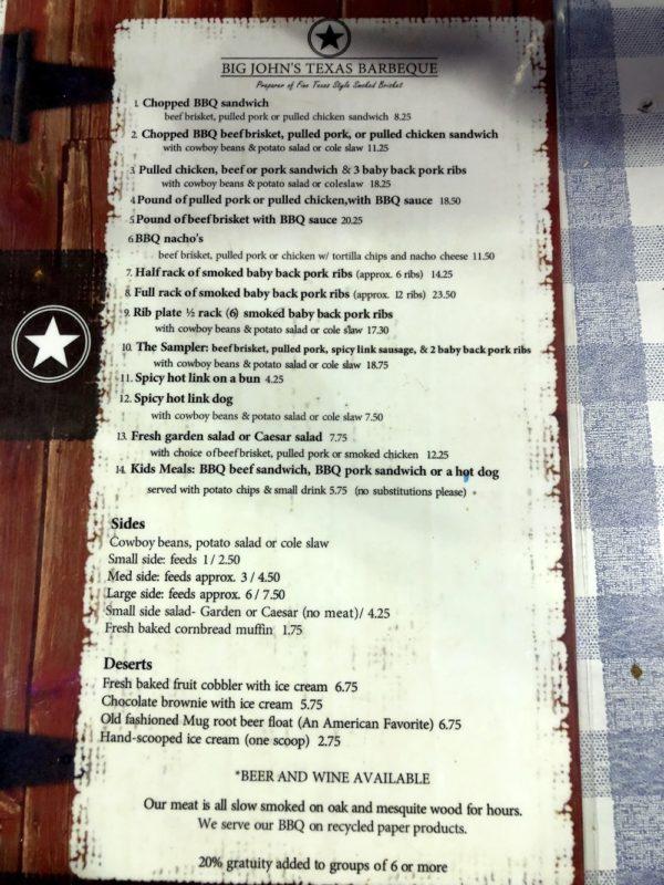 Big John's Texas BBQ page