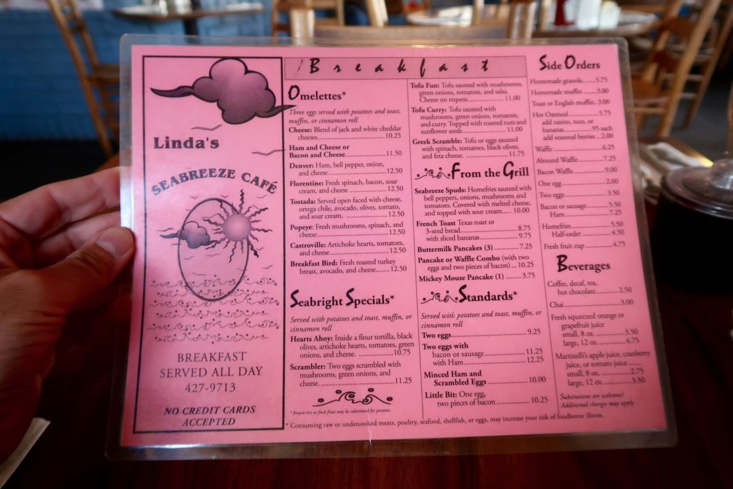 menu Seabreeze
