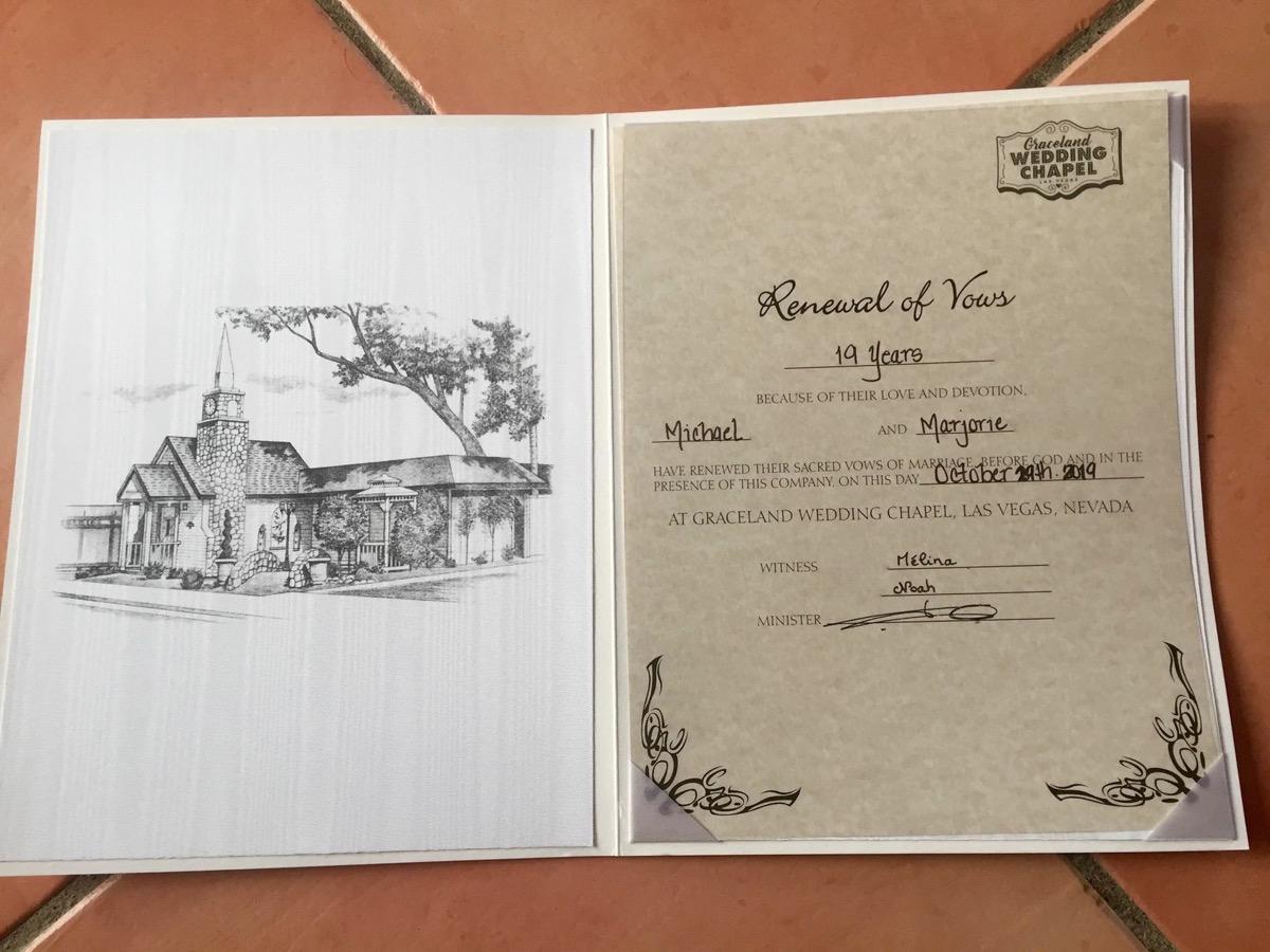 certificat renouvellement de voeux chapelle