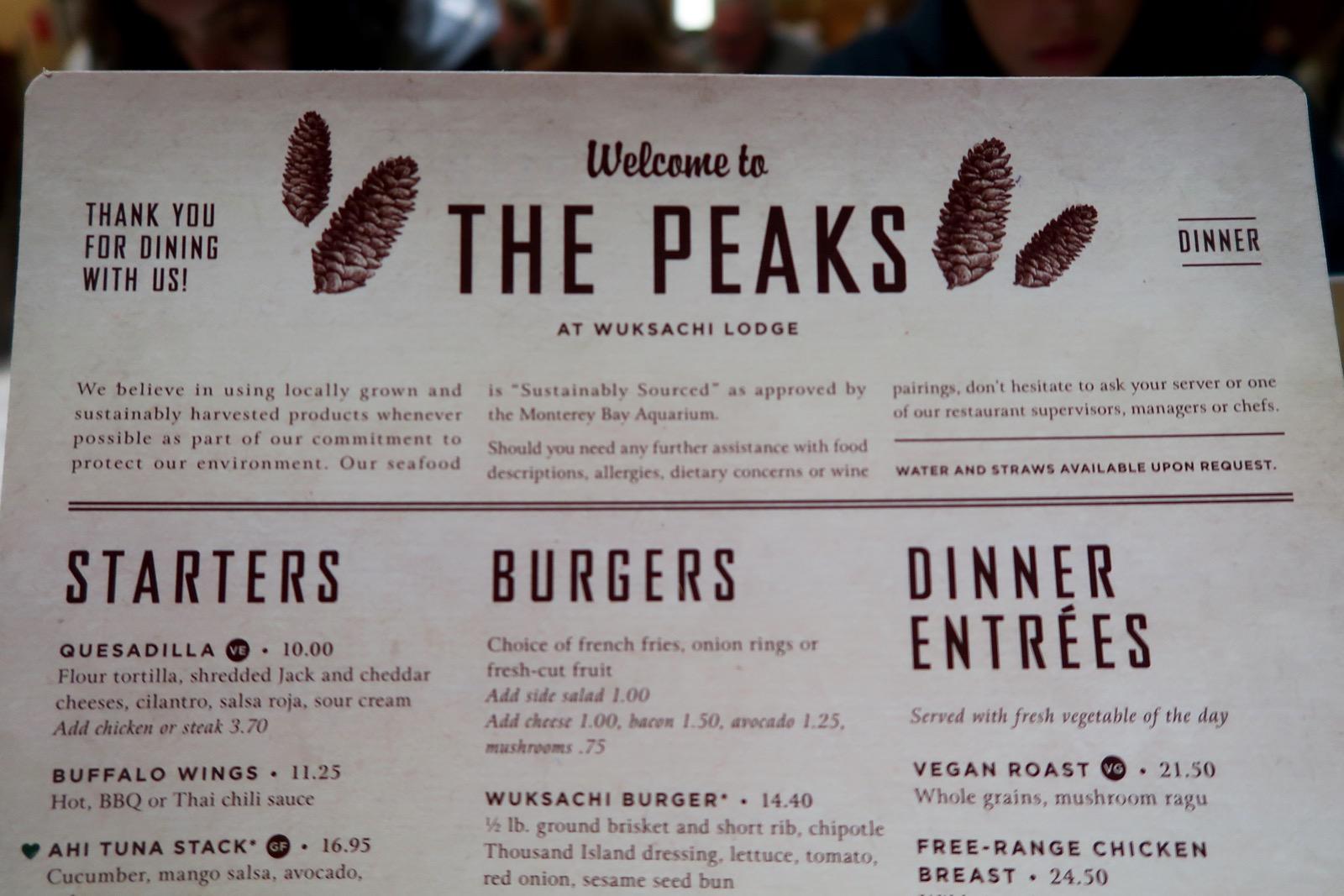 Menu The Peaks